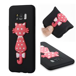 Polka Dot Cat Soft 3D Silicone Case for Samsung Galaxy S8 Plus S8+ - Black
