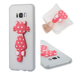 Polka Dot Cat Soft 3D Silicone Case for Samsung Galaxy S8 Plus S8+ - Translucent White