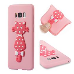 Polka Dot Cat Soft 3D Silicone Case for Samsung Galaxy S8 Plus S8+ - Pink