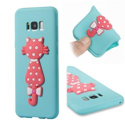 Polka Dot Cat Soft 3D Silicone Case for Samsung Galaxy S8 Plus S8+ - Sky Blue