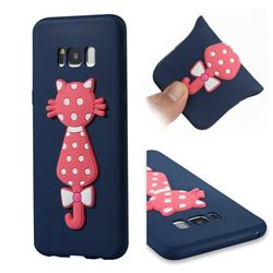 Polka Dot Cat Soft 3D Silicone Case for Samsung Galaxy S8 Plus S8+ - Navy