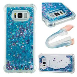 Dynamic Liquid Glitter Sand Quicksand TPU Case for Samsung Galaxy S8 Plus S8+ - Blue Love Heart