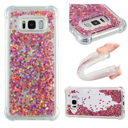 Dynamic Liquid Glitter Sand Quicksand TPU Case for Samsung Galaxy S8 Plus S8+ - Rose Gold Love Heart