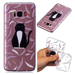 Feather Black Cat Super Clear Soft TPU Back Cover for Samsung Galaxy S8 Plus S8+