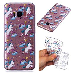 Rainbow Running Unicorn Super Clear Soft TPU Back Cover for Samsung Galaxy S8 Plus S8+