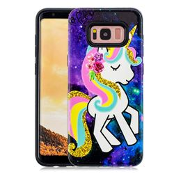 Rainbow Horse Pattern 2 in 1 PC + TPU Glossy Embossed Back Cover for Samsung Galaxy S8 Plus S8+