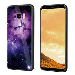 Luxury Starry Sky Tempered Glass Hard Back Cover with Silicone Bumper for Samsung Galaxy S8 Plus S8+ - Purple
