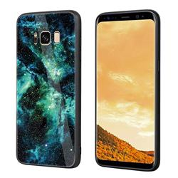 Luxury Starry Sky Tempered Glass Hard Back Cover with Silicone Bumper for Samsung Galaxy S8 Plus S8+ - Green