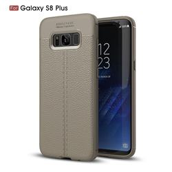 Luxury Auto Focus Litchi Texture Silicone TPU Back Cover for Samsung Galaxy S8 Plus S8+ - Gray
