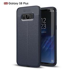 Luxury Auto Focus Litchi Texture Silicone TPU Back Cover for Samsung Galaxy S8 Plus S8+ - Dark Blue