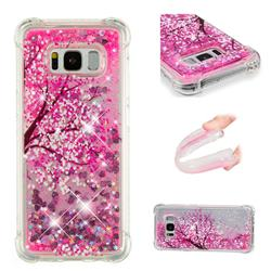 Pink Cherry Blossom Dynamic Liquid Glitter Sand Quicksand Star TPU Case for Samsung Galaxy S8 Plus S8+