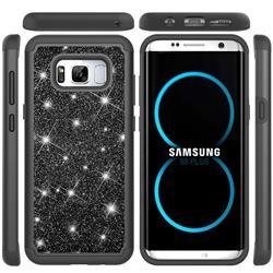Glitter Rhinestone Bling Shock Absorbing Hybrid Defender Rugged Phone Case Cover for Samsung Galaxy S8 Plus S8+ - Black