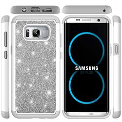 Glitter Rhinestone Bling Shock Absorbing Hybrid Defender Rugged Phone Case Cover for Samsung Galaxy S8 Plus S8+ - Gray