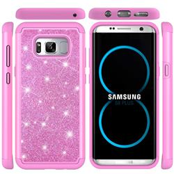 Glitter Rhinestone Bling Shock Absorbing Hybrid Defender Rugged Phone Case Cover for Samsung Galaxy S8 Plus S8+ - Pink