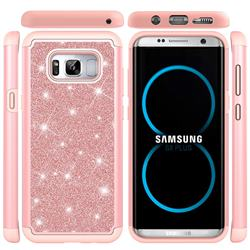 Glitter Rhinestone Bling Shock Absorbing Hybrid Defender Rugged Phone Case Cover for Samsung Galaxy S8 Plus S8+ - Rose Gold