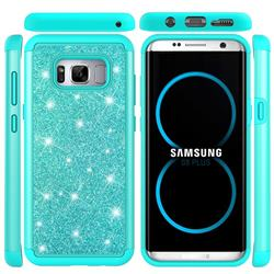 Glitter Rhinestone Bling Shock Absorbing Hybrid Defender Rugged Phone Case Cover for Samsung Galaxy S8 Plus S8+ - Green