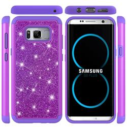 Glitter Rhinestone Bling Shock Absorbing Hybrid Defender Rugged Phone Case Cover for Samsung Galaxy S8 Plus S8+ - Purple