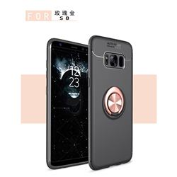 Auto Focus Invisible Ring Holder Soft Phone Case for Samsung Galaxy S8 Plus S8+ - Black Gold