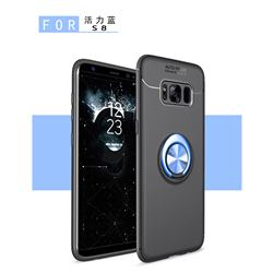 Auto Focus Invisible Ring Holder Soft Phone Case for Samsung Galaxy S8 Plus S8+ - Black Blue