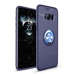 Auto Focus Invisible Ring Holder Soft Phone Case for Samsung Galaxy S8 Plus S8+ - Blue
