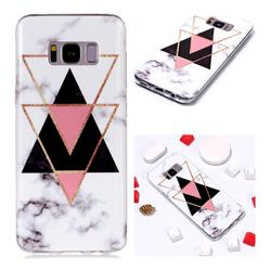 Inverted Triangle Black Soft TPU Marble Pattern Phone Case for Samsung Galaxy S8 Plus S8+