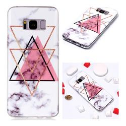 Inverted Triangle Powder Soft TPU Marble Pattern Phone Case for Samsung Galaxy S8 Plus S8+