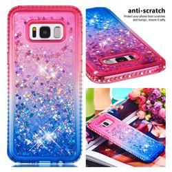 Diamond Frame Liquid Glitter Quicksand Sequins Phone Case for Samsung Galaxy S8 Plus S8+ - Pink Blue