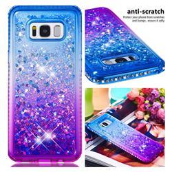 Diamond Frame Liquid Glitter Quicksand Sequins Phone Case for Samsung Galaxy S8 Plus S8+ - Blue Purple