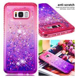 Diamond Frame Liquid Glitter Quicksand Sequins Phone Case for Samsung Galaxy S8 Plus S8+ - Pink Purple