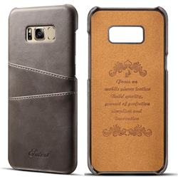 Suteni Retro Classic Card Slots Calf Leather Coated Back Cover for Samsung Galaxy S8 Plus S8+ - Gray