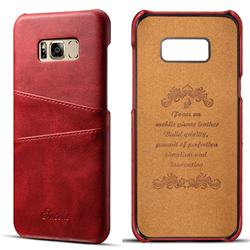 Suteni Retro Classic Card Slots Calf Leather Coated Back Cover for Samsung Galaxy S8 Plus S8+ - Red