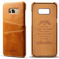 Suteni Retro Classic Card Slots Calf Leather Coated Back Cover for Samsung Galaxy S8 Plus S8+ - Khaki
