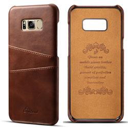 Suteni Retro Classic Card Slots Calf Leather Coated Back Cover for Samsung Galaxy S8 Plus S8+ - Brown