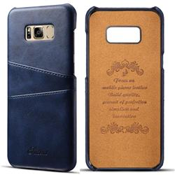 Suteni Retro Classic Card Slots Calf Leather Coated Back Cover for Samsung Galaxy S8 Plus S8+ - Blue