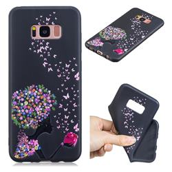 Corolla Girl 3D Embossed Relief Black TPU Cell Phone Back Cover for Samsung Galaxy S8 Plus S8+