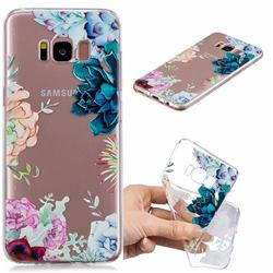 Gem Flower Clear Varnish Soft Phone Back Cover for Samsung Galaxy S8 Plus S8+