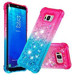 Rainbow Gradient Liquid Glitter Quicksand Sequins Phone Case for Samsung Galaxy S8 Plus S8+ - Pink Blue