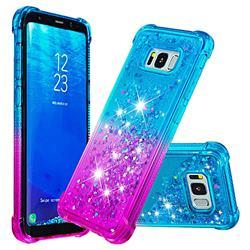 Rainbow Gradient Liquid Glitter Quicksand Sequins Phone Case for Samsung Galaxy S8 Plus S8+ - Blue Purple