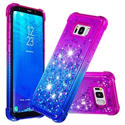 Rainbow Gradient Liquid Glitter Quicksand Sequins Phone Case for Samsung Galaxy S8 Plus S8+ - Purple Blue