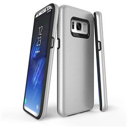 Triangle Texture Shockproof Hybrid Rugged Armor Defender Phone Case for Samsung Galaxy S8 Plus S8+ - Silver