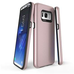 Triangle Texture Shockproof Hybrid Rugged Armor Defender Phone Case for Samsung Galaxy S8 Plus S8+ - Rose Gold