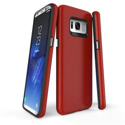 Triangle Texture Shockproof Hybrid Rugged Armor Defender Phone Case for Samsung Galaxy S8 Plus S8+ - Red