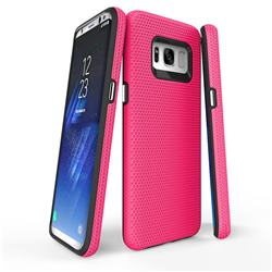 Triangle Texture Shockproof Hybrid Rugged Armor Defender Phone Case for Samsung Galaxy S8 Plus S8+ - Rose