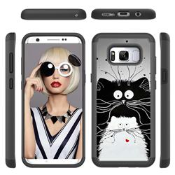 Black and White Cat Shock Absorbing Hybrid Defender Rugged Phone Case Cover for Samsung Galaxy S8 Plus S8+