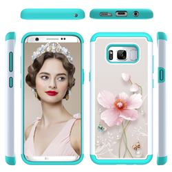 Pearl Flower Shock Absorbing Hybrid Defender Rugged Phone Case Cover for Samsung Galaxy S8 Plus S8+