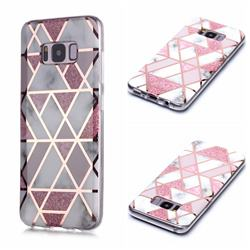 Pink Rhombus Galvanized Rose Gold Marble Phone Back Cover for Samsung Galaxy S8 Plus S8+