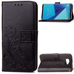 Embossing Imprint Four-Leaf Clover Leather Wallet Case for Samsung Galaxy S8+ S8 Plus - Black
