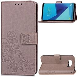 Embossing Imprint Four-Leaf Clover Leather Wallet Case for Samsung Galaxy S8+ S8 Plus - Grey