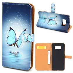Sea Blue Butterfly Leather Wallet Case for Samsung Galaxy S8+ S8 Plus