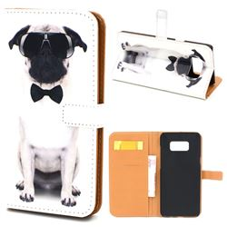 Glasses Dog Leather Wallet Case for Samsung Galaxy S8+ S8 Plus